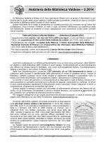 Notiziario Biblioteca n. 2 2014 - Fondazione Centro Culturale Valdese