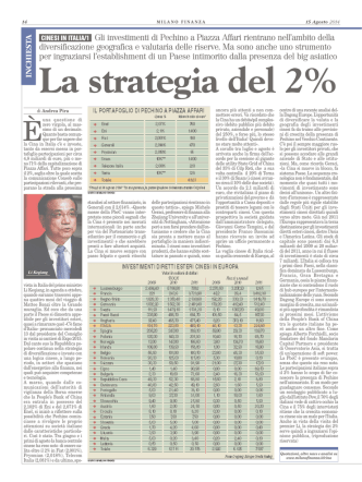 cinesi in italia/1 Gli investimenti di Pechino a