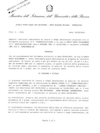 CONTRATTO GRECO PAOLA - Gazzetta Amministrativa