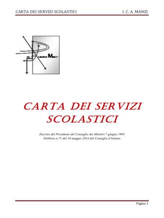 CARTA DEI SERVIZI SCOLASTICI I. C. A. MANZI