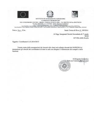Coordinatori di classe a.s. 2014/15