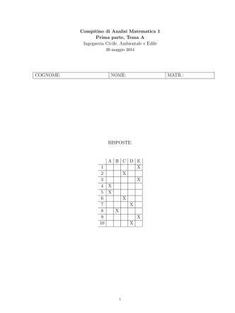 Compitino - Dipartimento di Matematica