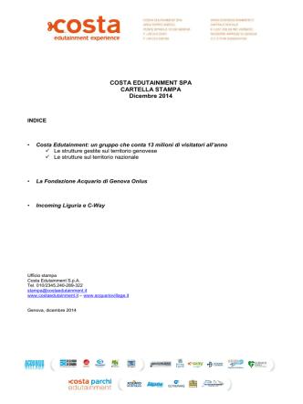 Cartella stampa COSTA EDUTAINMENT SPA dicembre 2014