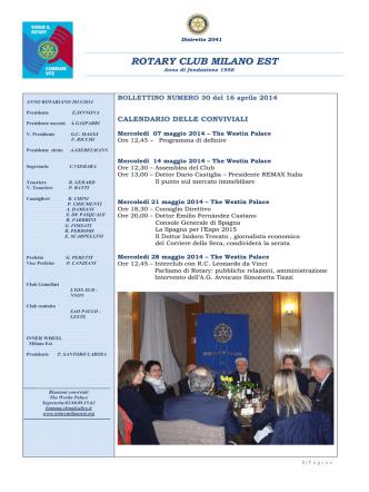 Bollettino nr. 30 - Rotary Club Milano Est