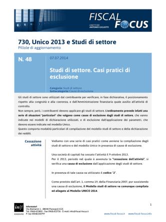 730, Unico 2013 e Studi di settore