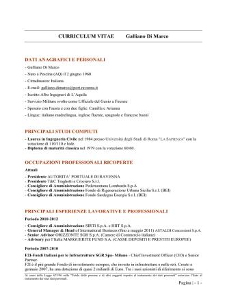 Curriculum - Autorità portuale di Ravenna