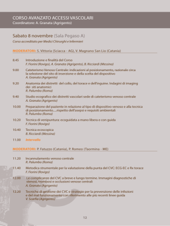 Accessi vascolari (per Medici ed Infermieri) - Programma