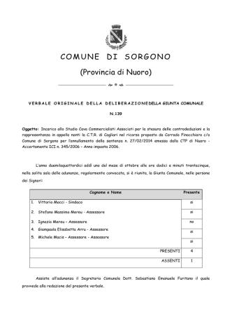COMUNE DI SORGONO (Provincia di Nuoro)