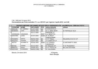 C.M. 2420 del 14 marzo 2014 Convocazione per firma contratto I.T.I.