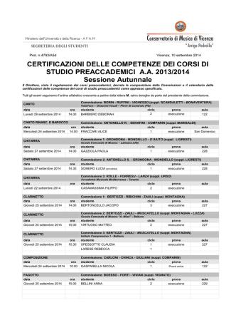 Calendario certificazioni aggiornato