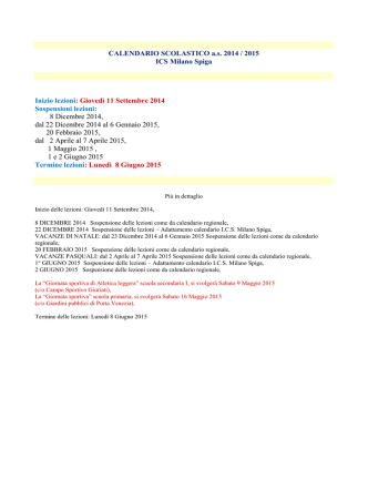 CALENDARIO SCOLASTICO a.s. 2014 / 2015 ICS Milano Spiga