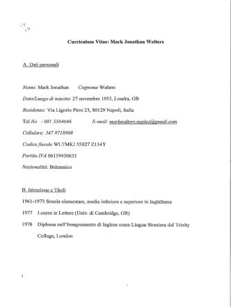 Curriculum Vitae - Università degli Studi del Sannio