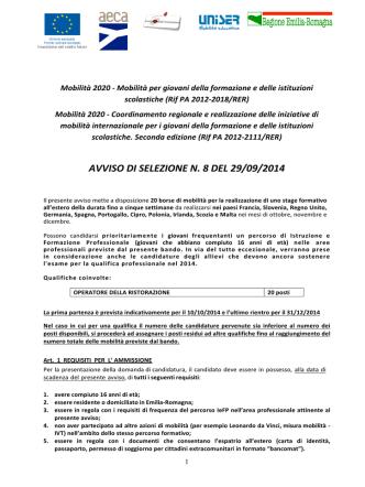 AVVISO DI SELEZIONE n. 8_Mobilita_2020a