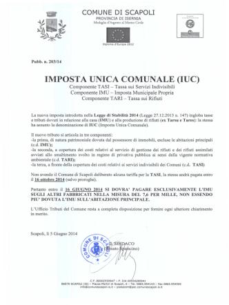 Avviso IUC - Comune di Scapoli