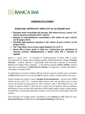 comunicato stampa banca imi: approvati i risultati al 30 giugno 2014