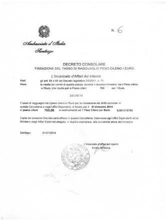 Decreto di fissazione del tasso di ragguaglio 3 trimestre 2014