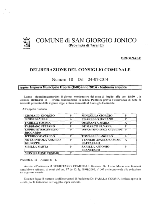 Delibera CC n.18 - 2014 - Imposta Munic. Propria (IMU) anno 2014