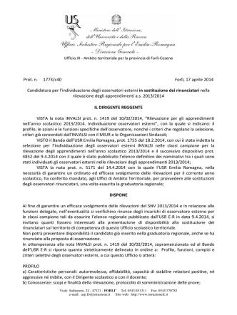 candidatura osservatori esterni invalsi - Ufficio XI