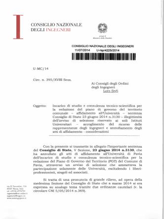 circolare - Ordine degli Ingegneri della Provincia di Vicenza