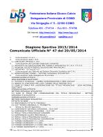 COMUNICATO n.47 del 29/05/2014