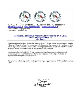 cu 70 delibere assemblea ordinaria hil 14-6-2014