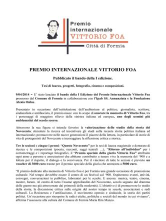 9/4/2014 - Premio Internazionale Vittorio Foa: pubblicato il bando
