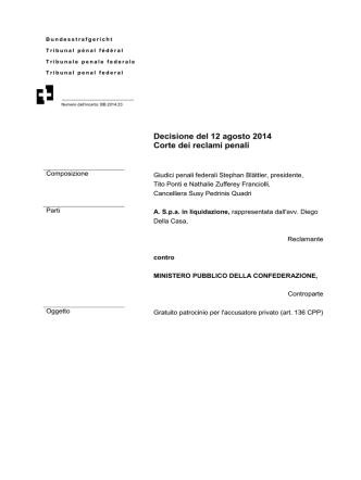 Decisione del 12 agosto 2014 Corte dei reclami penali