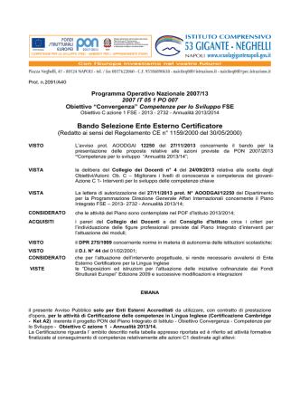 bando_enti_certificatori_ingl - Istituto Comprensivo 53 Gigante