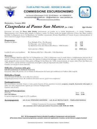 Ciaspolata al Passo San Marco (m. 1.985)