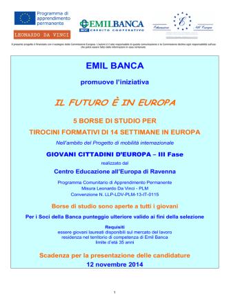 Bando borse di studio Leonardo da Vinci 2014 di Emil Banca