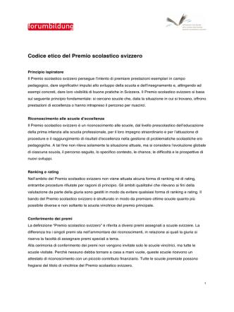 Codice etico del Premio scolastico svizzero