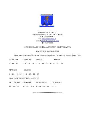 ASDPS ARMIS ET LEO Corso Cincinnato, 193/5 – 10151 Torino