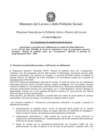 Avviso pubblicato - Ministero del Lavoro e delle Politiche Sociali
