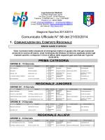 Comunicato Ufficiale N° 58 del 21/03/2014