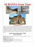 ALBANIA Gran Tour 21/28 luglio 2014