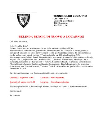 BELINDA BENCIC DI NUOVO A LOCARNO!!