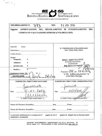 Deliberazione n. 793 del 06.11.2014