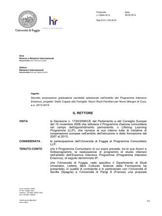 Decreto emanazione graduatoria - Università degli Studi di Foggia