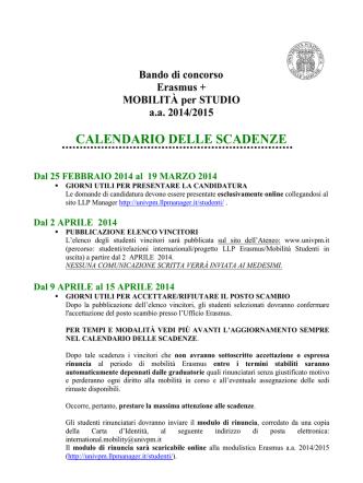 CALENDARIO DELLE SCADENZE LLP/ERSMUS