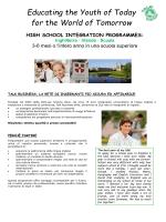 High School Integration Programmes (anno studio