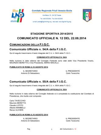 COMUNICATO UFFICIALE N. 12 DEL 22.08.2014