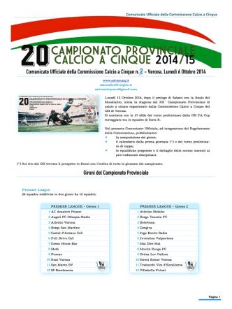 Comunicato 02 del 06/10/2014