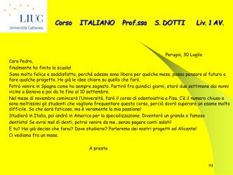 Corso ITALIANO Prof.ssa S. DOTTI Liv. 1 AV.