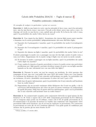 Calcolo delle Probabilità 2014/15 – Foglio di esercizi 3†