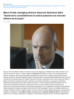 "Marco Prada, managing director Assurant Solutions Italia: ""Quest"