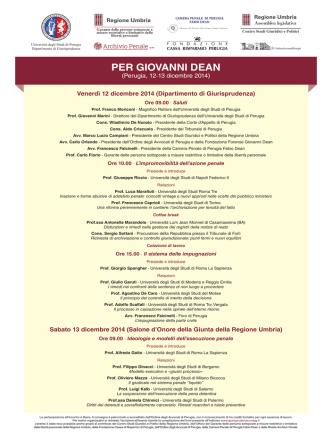 Convegno Per Giovanni Dean - Università degli Studi di Perugia
