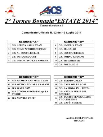 Com. Uff. n. 2 calendario gare - AICS Comitato Provinciale di Trapani