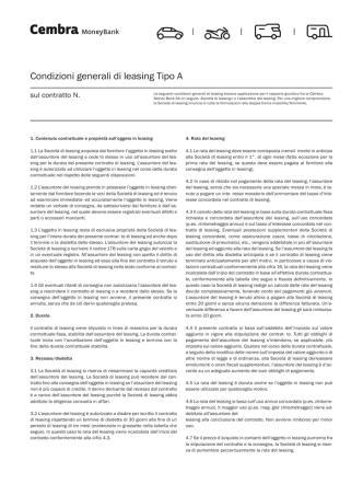 Condizioni generali di leasing Tipo A