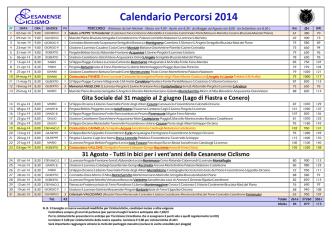 Calendario Percorsi 2014