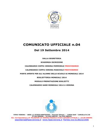 COMUNICATO UFFICIALE n.04 Del 19 Settembre